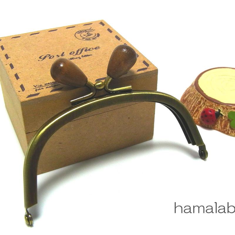 【HA-1367】10cm/くし型(茶色の木オーバル×アンティークゴールド)