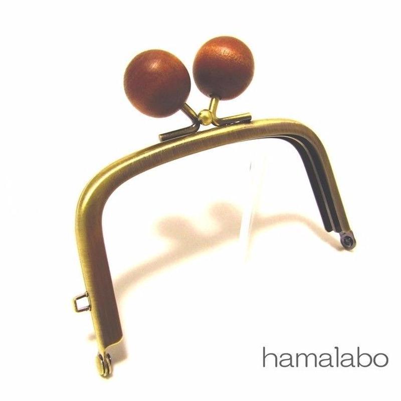 【HA-1455】9.9cm/くし型の口金(ちょっと大きい茶色の木玉×アンティークゴールド)