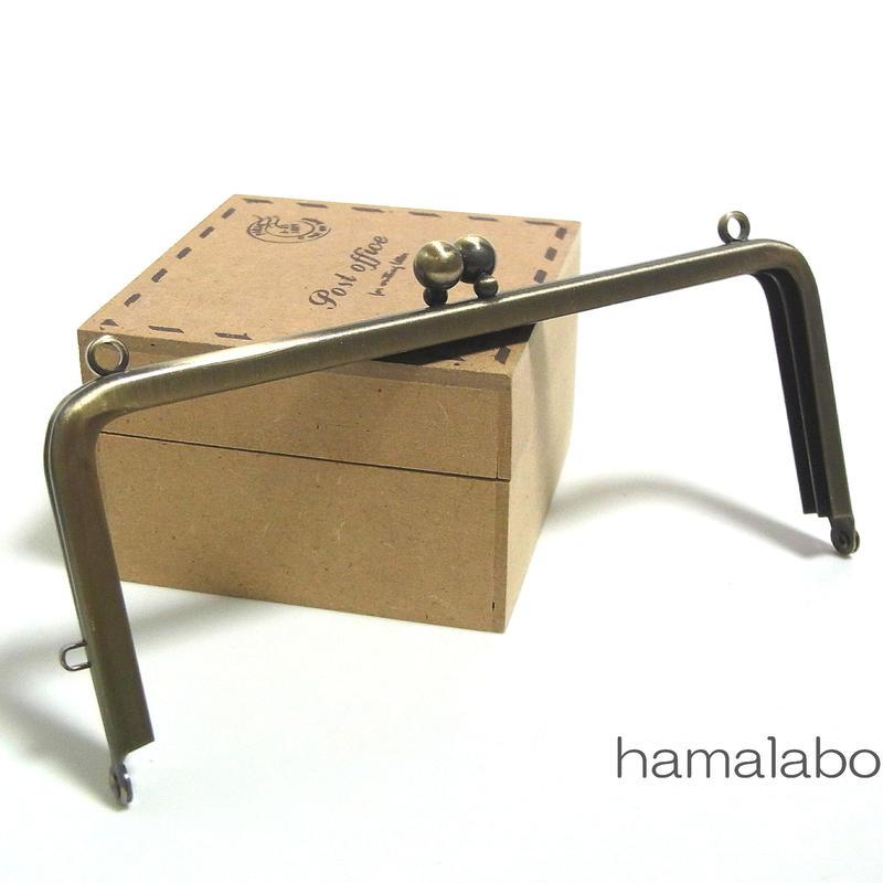 【HA-1394】13.5cm/角型口金(アンティークゴールド)カン付き