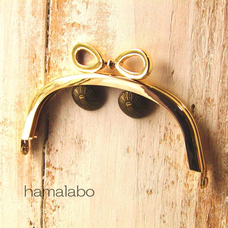 【HA-375】リボン口金/10cmくし型(ゴールド)