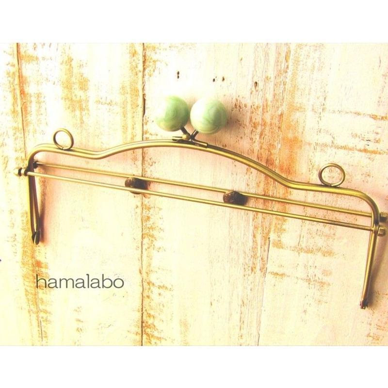 1月17日販売開始!【HA-1490】28cmベンリー口金/(ヒスイ玉×アンティークゴールド)・カン付き