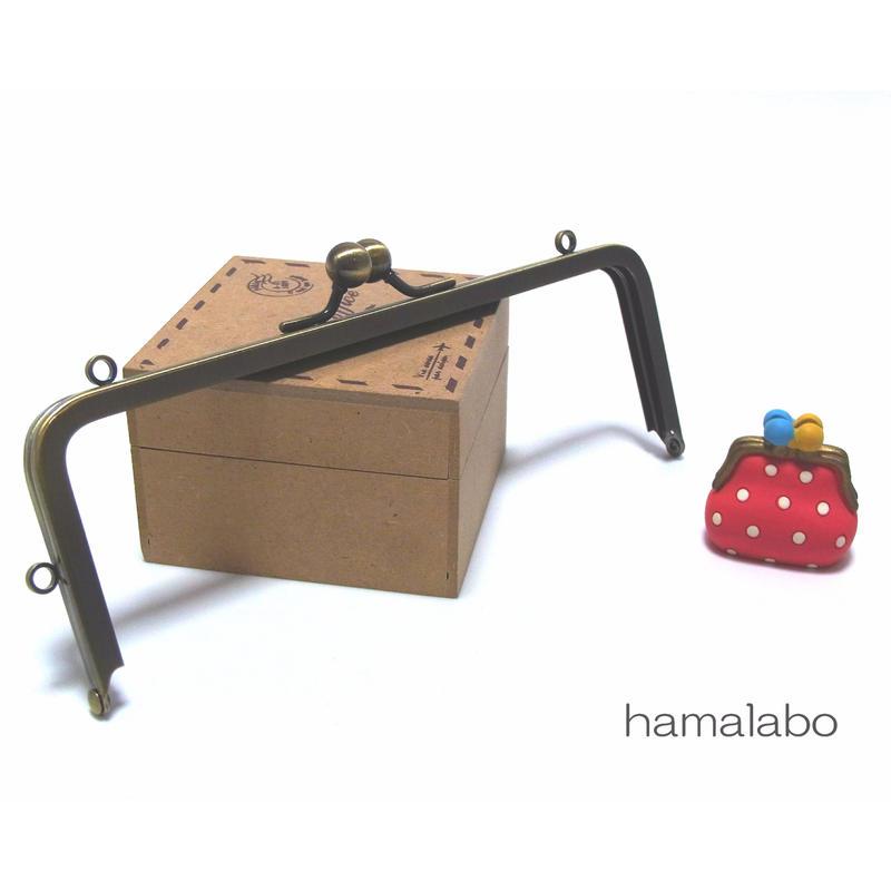 【HA-1431】16.5cm/角型の口金(ミニアメ玉&足長)・カン付き/アンティークゴールド