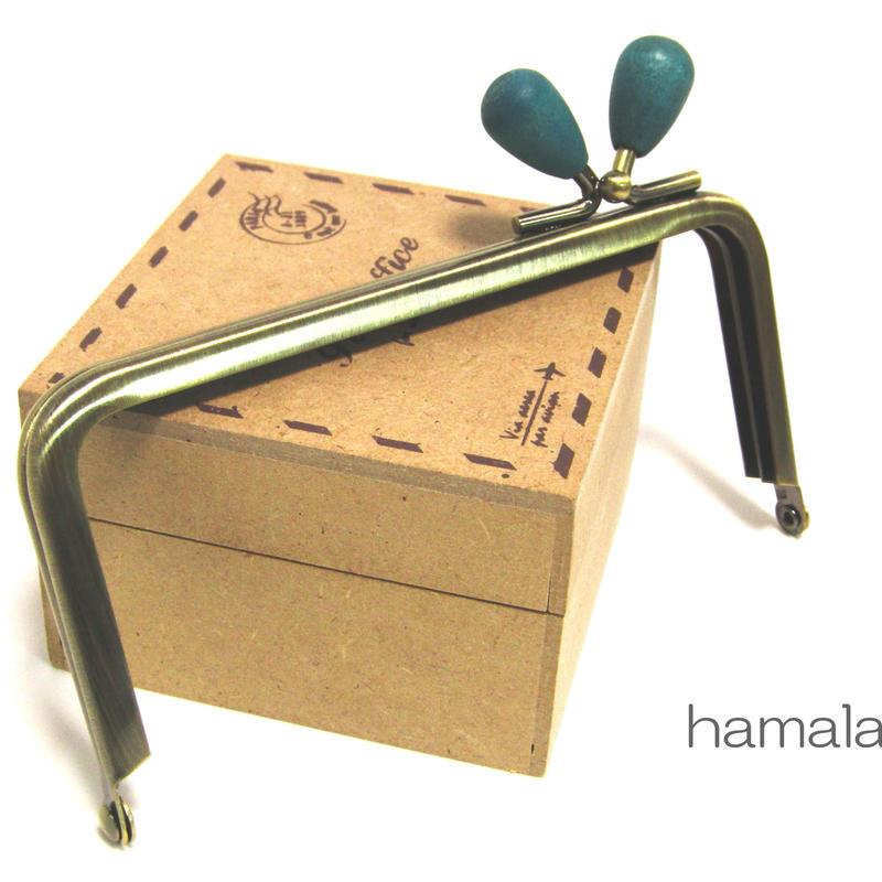 <廃盤予定>【HA-1211】<横ひねり>12cm/角型の口金(紺色の木オーバル×アンティーク)