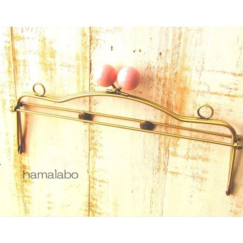 1月17日販売開始!【HA-1491】28cmベンリー口金/(ベビーピンク玉×アンティークゴールド)・カン付き