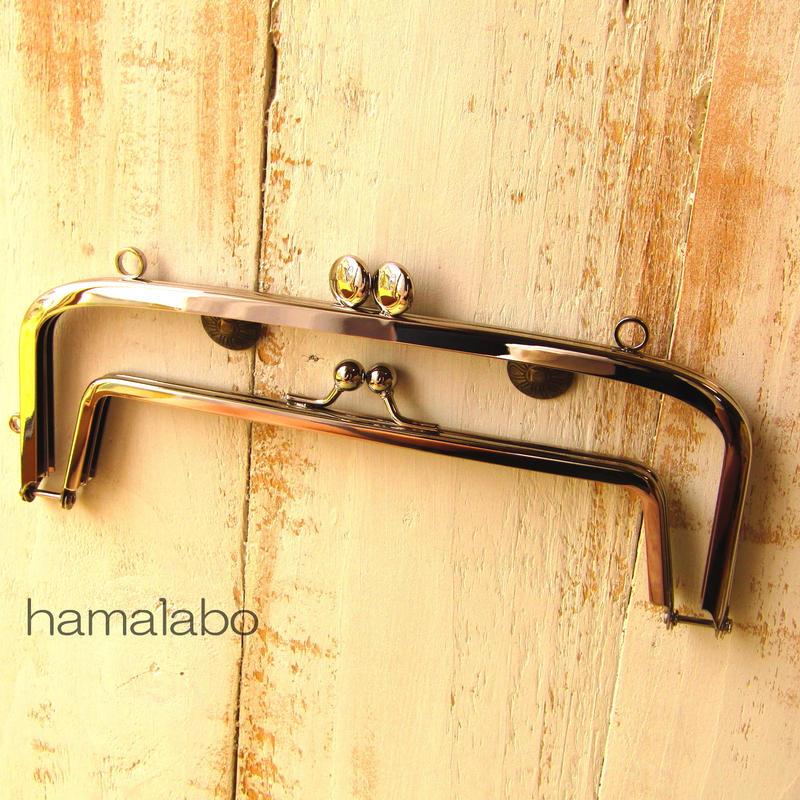1月17日販売開始【HA-1351】<親子口金>19cm(スマイル刻印の碁石×シルバー)・カン付き