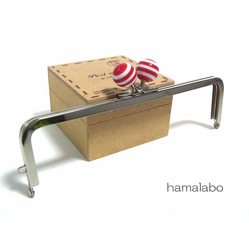 <廃盤予定>売り切り価格!【HA-1250】16.5cm/角型(赤×白のマリンボーダー)・シルバー