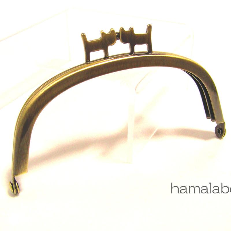 【HA-1313】ペアネコ口金/10cmくし型(アンティークゴールド)