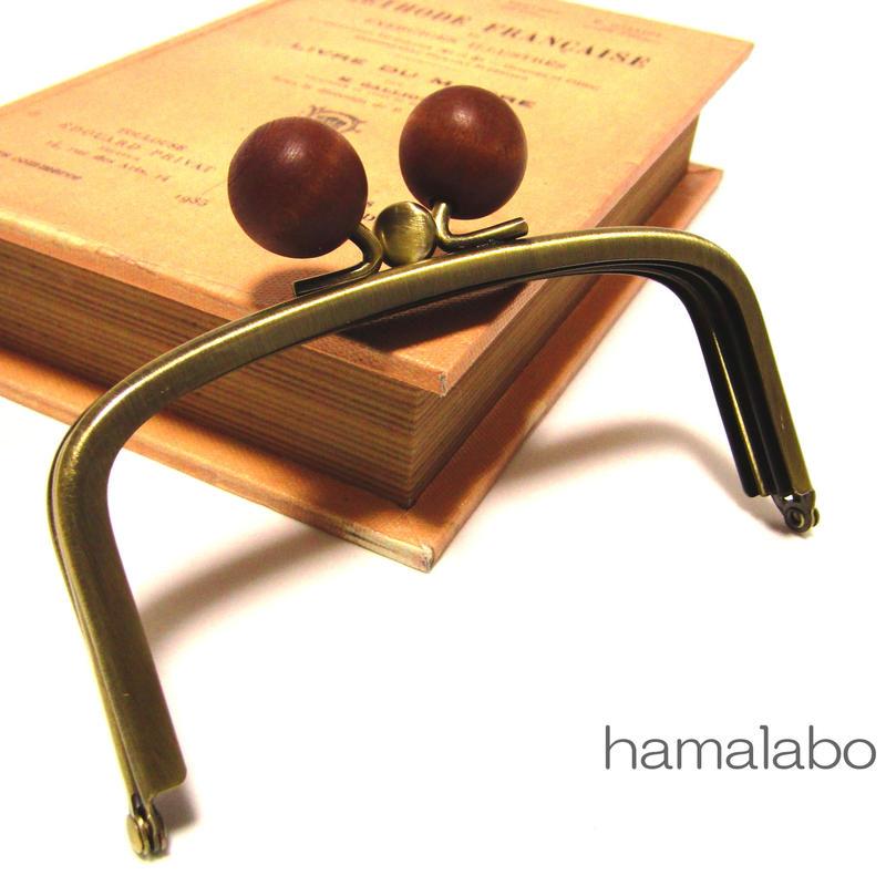 【HA-146】三枚口(二口口金)12cm/(茶色の木玉×アンティークゴールド)