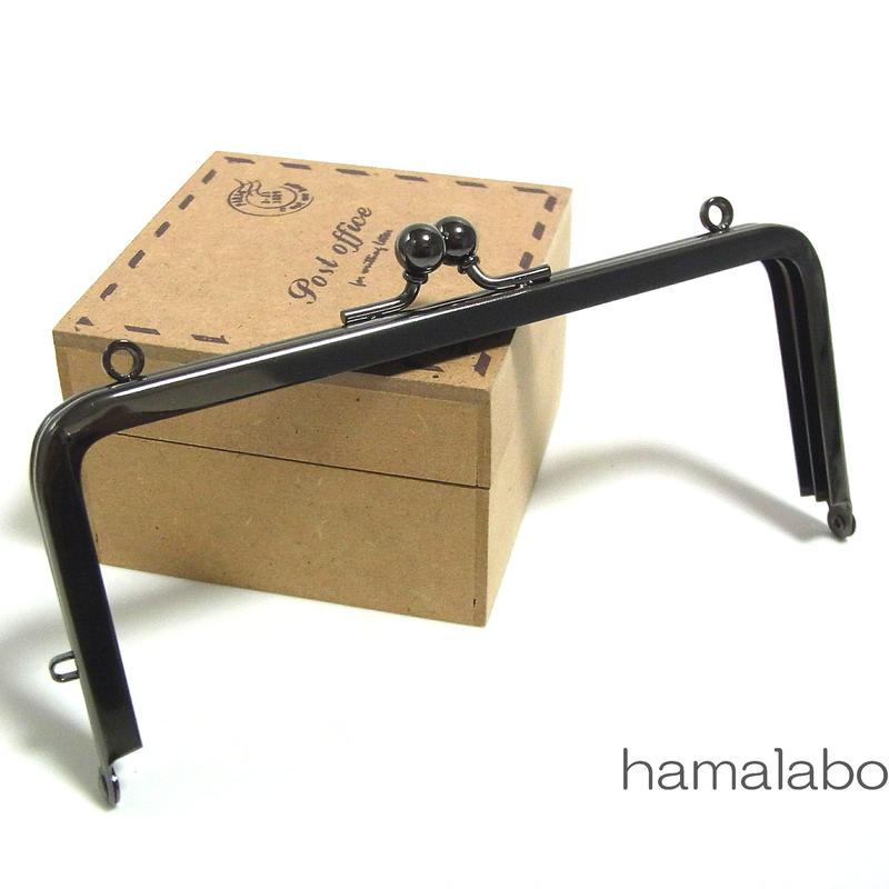 【HA-1393】13.5cm/角型口金(ブラック)カン付き