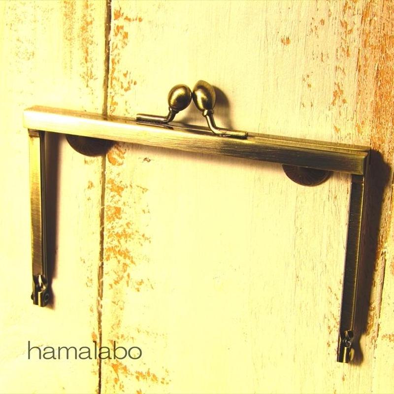 【HA-1496】12cm浮き足口金/ナツメ玉(アンティークゴールド)