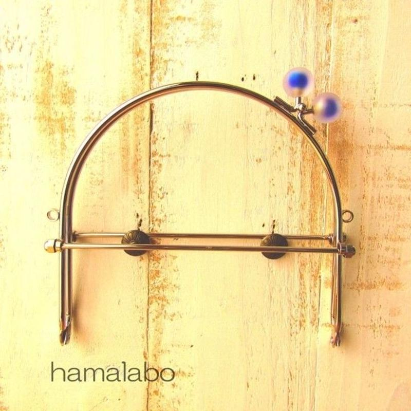 7月4日販売開始!【HA-1629】16cmベンリー口金/(スモーク玉ブルー×シルバー)・カン付き