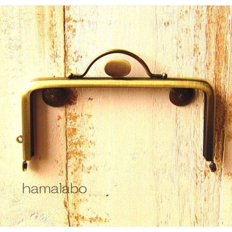 7月9日販売開始!【HA-1573】持ち手付きの押し口金12cm/角型(アンティークゴールド)
