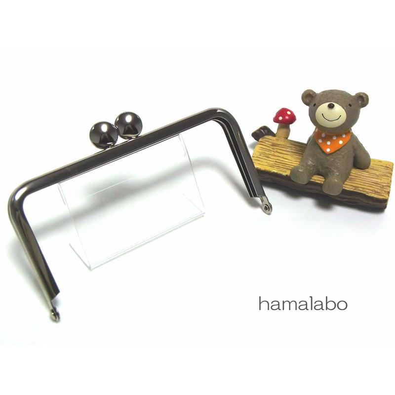【HA-1396】12cm/角型口金(シルバー)-碁石つまみ-