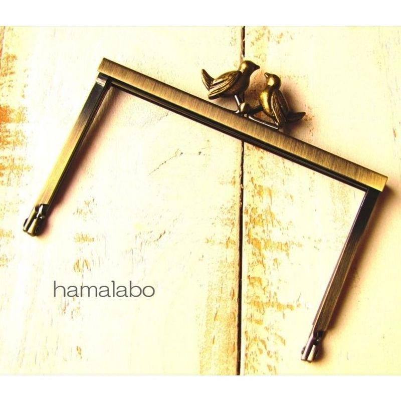 4月10日販売開始!【HA-1504】12cm浮き足口金/小鳥のピースケ(アンティークゴールド)