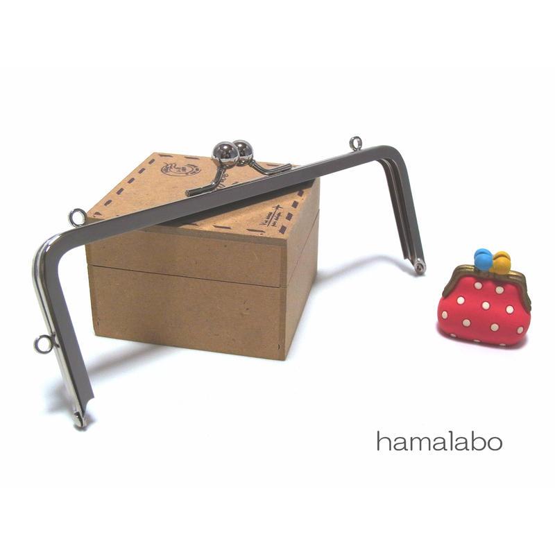 【HA-1430】16.5cm/角型の口金(ミニアメ玉&足長)・カン付き/シルバー