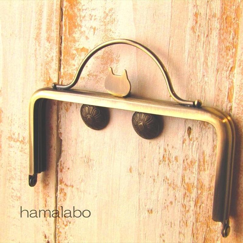 4月10日販売開始!【HA-1586】ネコ型タイプ!持ち手付きの押し口金12cm/角型(アンティークゴールド)