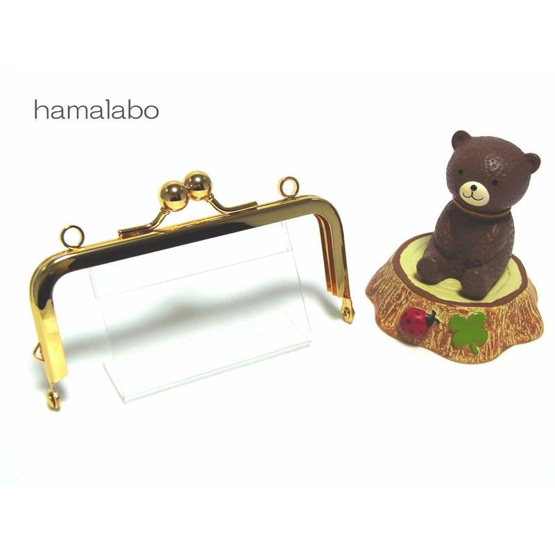 <廃盤予定>【HA-1402】ミニアメ玉10cm/角型口金(ゴールド)・カン付き