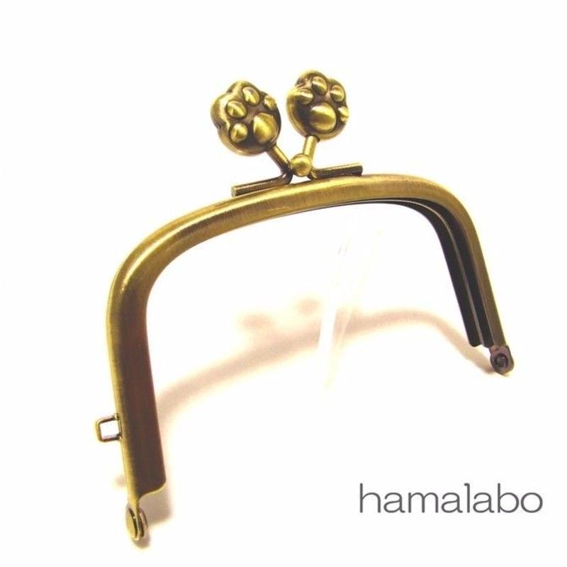 【HA-1459】9.9cm/くし型の口金(肉球×アンティークゴールド)