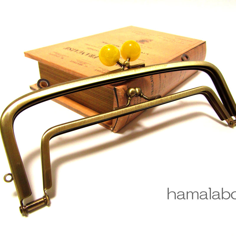 【HA-358】<廉価版>親子口金 19cm(イエロー玉×アンティークゴールド)・カン付き