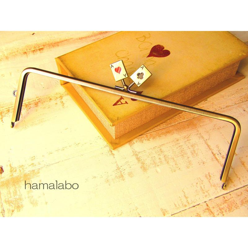 【HA-449】25cm角型の口金(トランプ×アンティークゴールド)