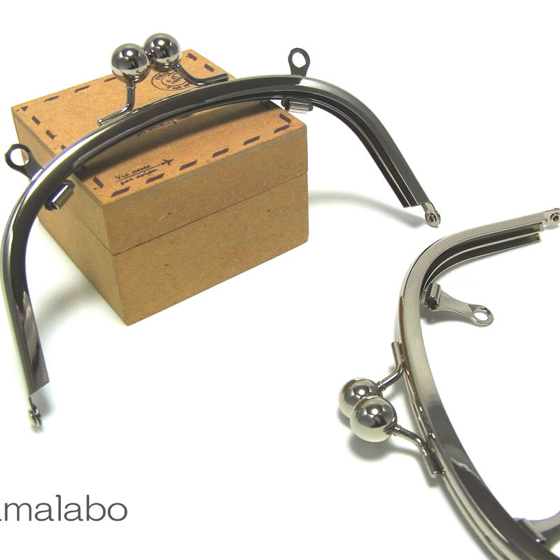 【HA-143】アメ玉口金 15cm/くし型(シルバー)・兼用カン付き