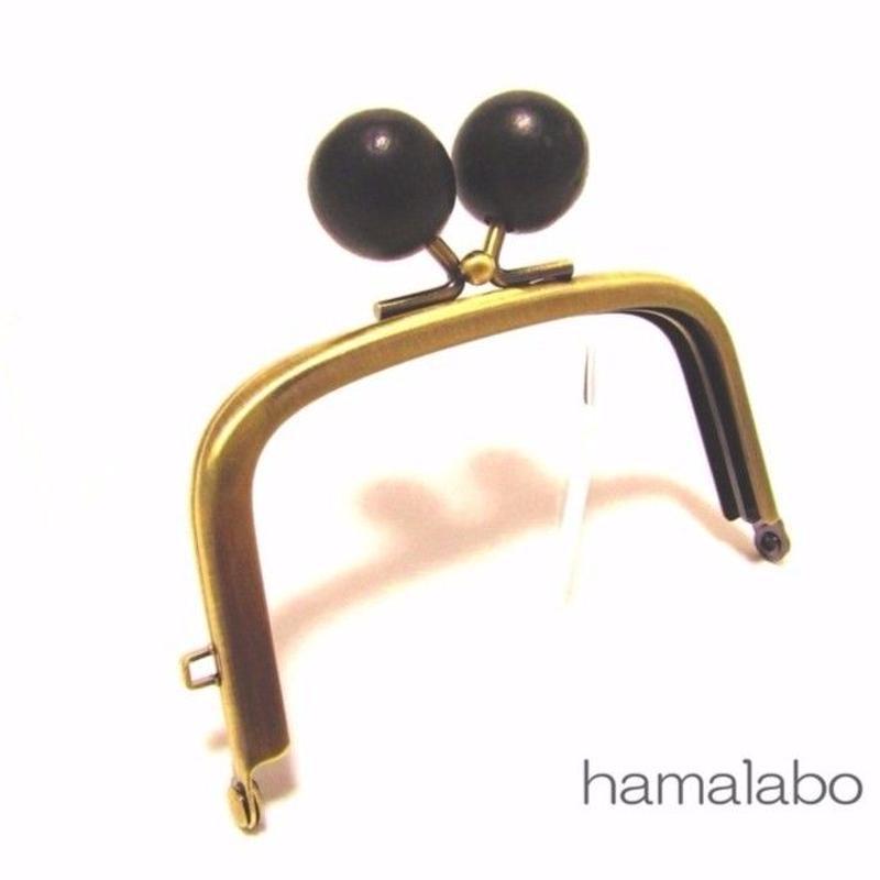 【HA-1458】9.9cm/くし型の口金(ちょっと大きい黒色の木玉×アンティークゴールド)