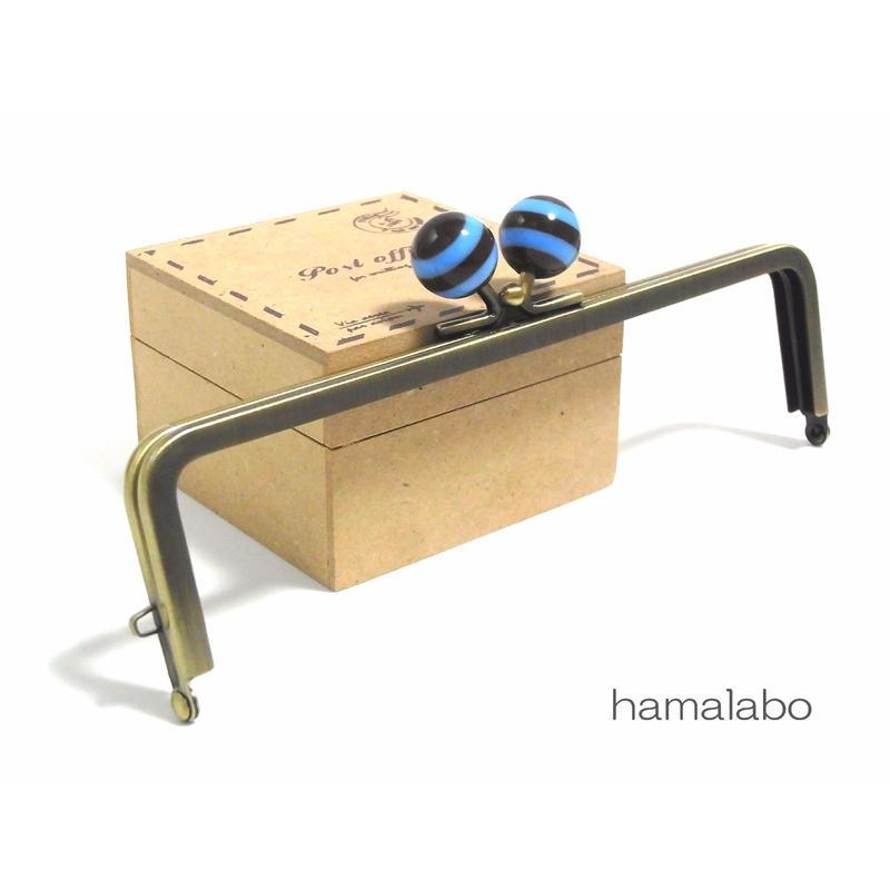 <廃盤予定>売り切り価格!【HA-1255】16.5cm/角型(ブルー×ブラウンのボーダー)・アンティークゴールド