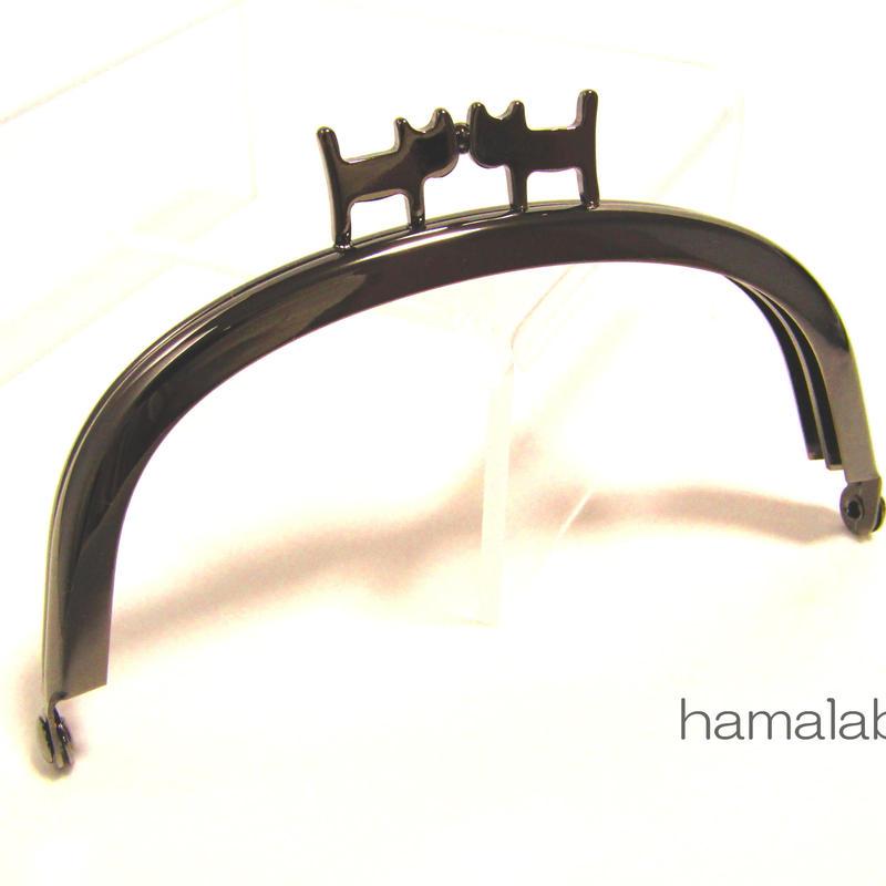 【HA-1312】ペアネコ口金/10cmくし型(ブラック)