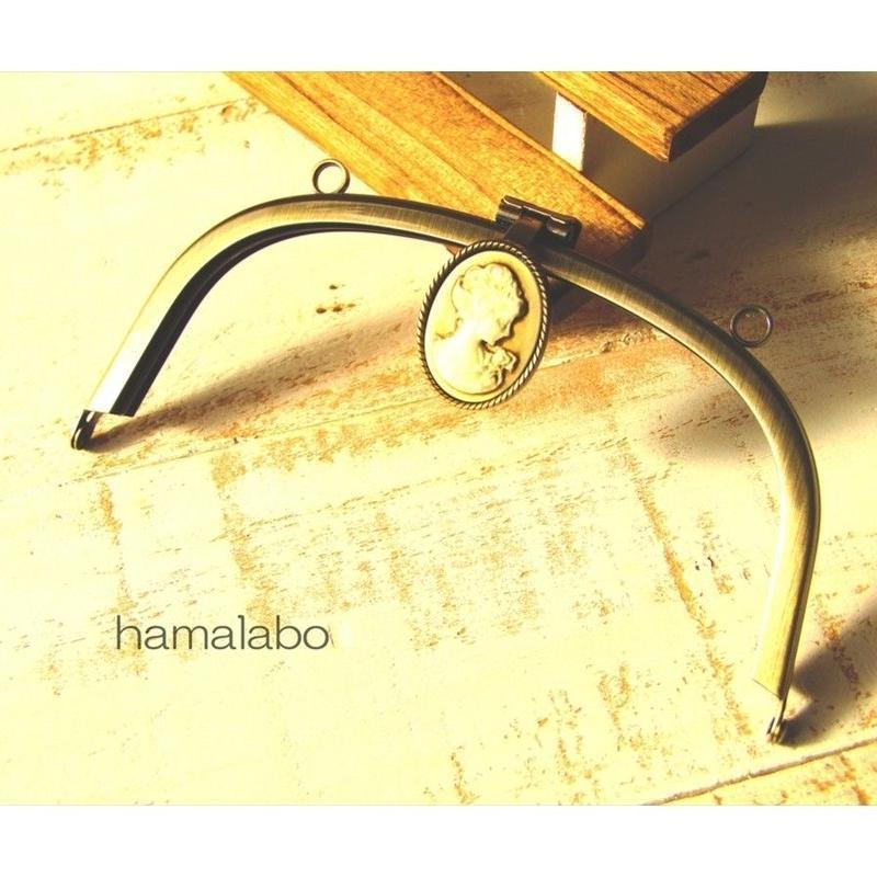 <廃盤予定>売り切り価格!【HA-1552】<カメオ口金(コーヒー色)> 15cm/くし型(アンティークゴールド)カン付き