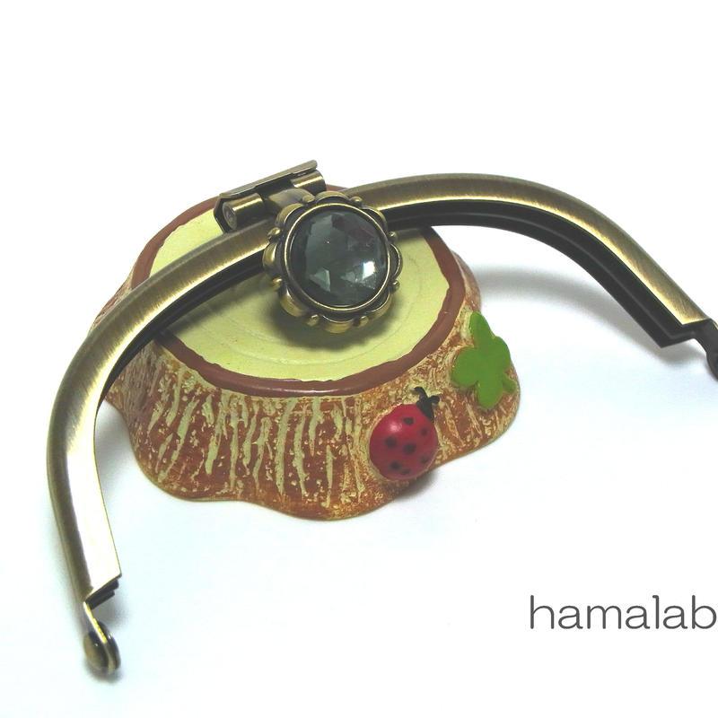 【HA-1279】<デコレーション口金>10cmくし型(アンティークゴールド)-ブラックストーン付き