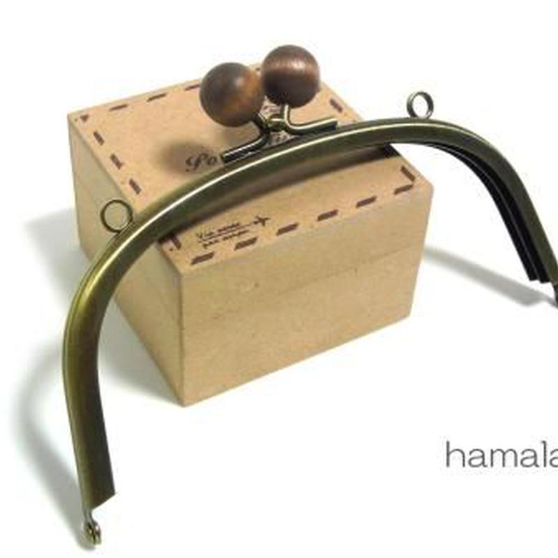 【HA-118】15cm/くし型(茶色の木玉×アンティークゴールド)・カン付き