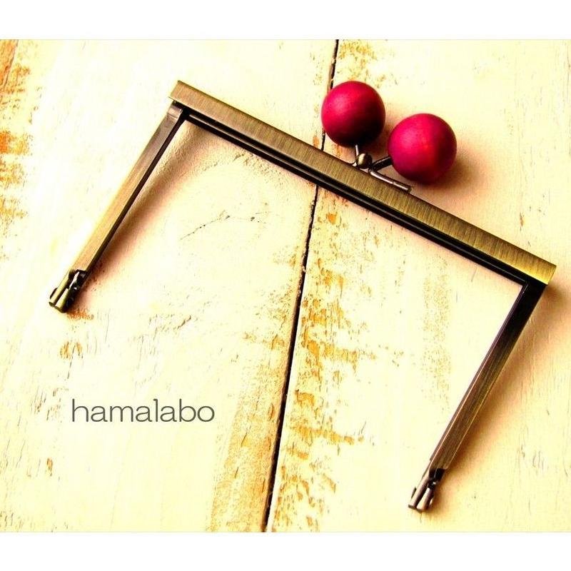 4月10日販売開始!【HA-1499】12cm浮き足口金/ちょっと大きな紫色の木玉(アンティークゴールド)
