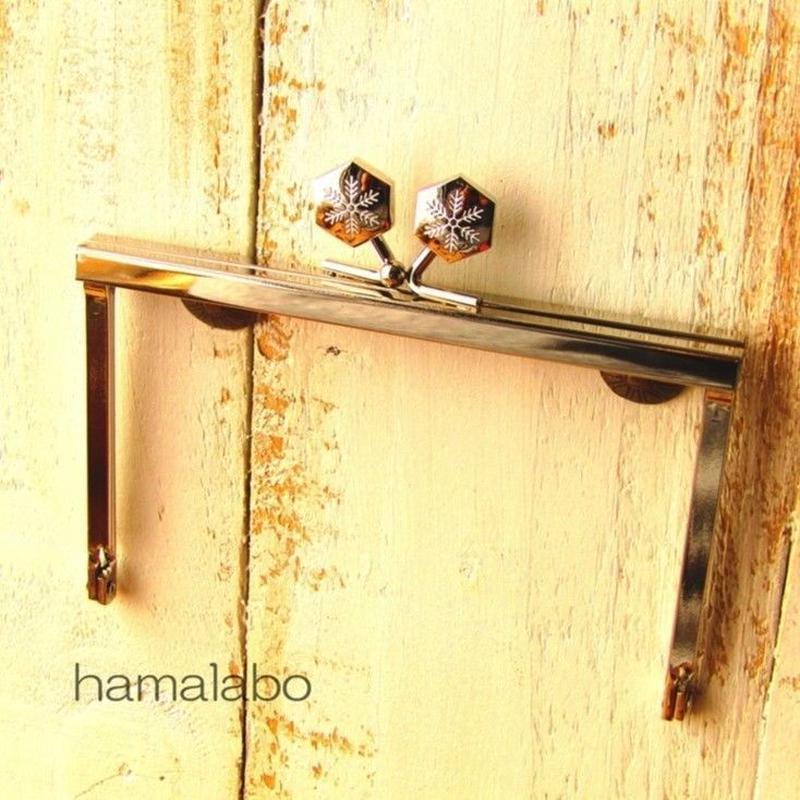 【HA-1505】12cm浮き足口金/六花-雪の結晶(シルバー)