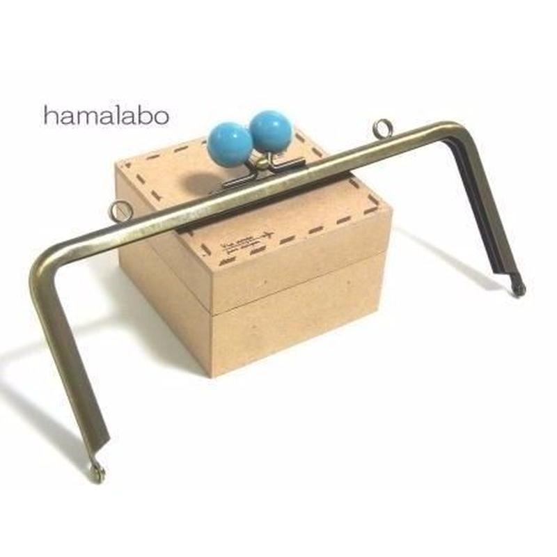 【HA-1215】18cm/角型(ブルー玉×アンティークゴールド)・カン付き