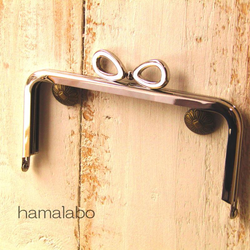 【HA-380】リボン口金/12cm角型(シルバー)
