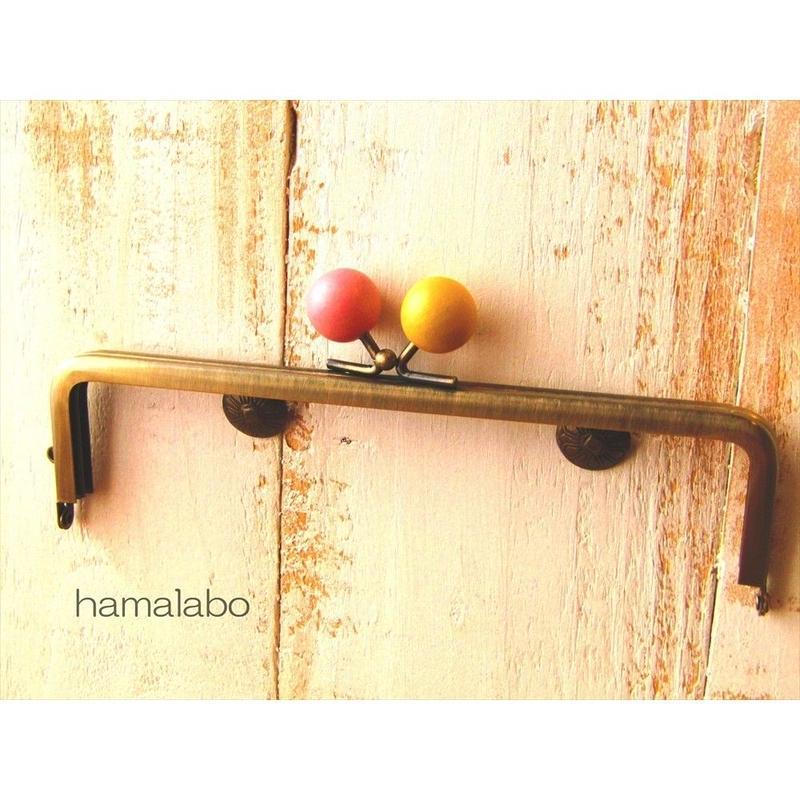【HA-1524】16.5cm木玉/角型(からし色とピンク色のミックス×アンティークゴールド)