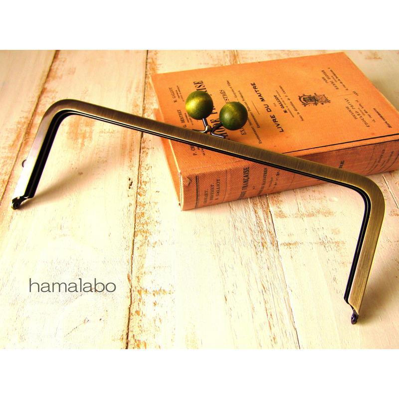 【HA-495】24cm角型口金(ちょっと大きな抹茶色の木玉×アンティークゴールド)+(プラス)
