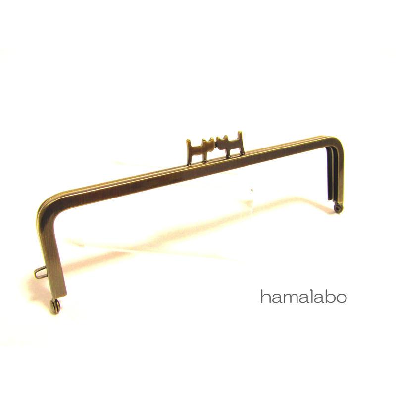【HA-1324】ペアネコ口金/16.5cm角型(アンティークゴールド)