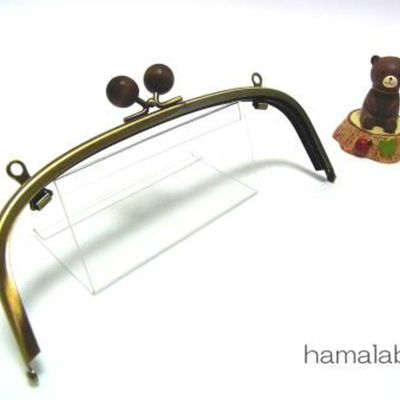 【HA-112】20.4cm/くし型(茶色の木玉×アンティークゴールド)・兼用カン付き