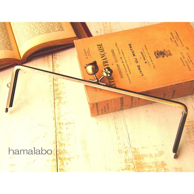 【HA-471】25cm角型の口金(大きなネコ玉×肉球×アンティークゴールド)