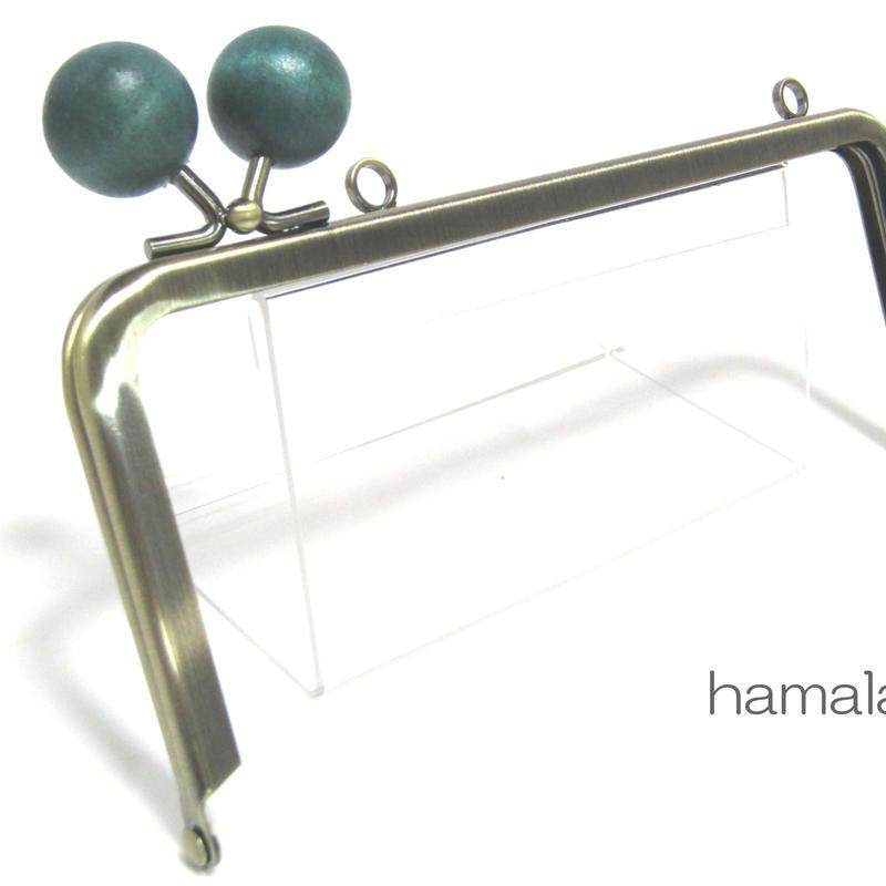 【HA-1384】<横ひねり>18cm/角型の口金(ちょっと大きな紺色の木玉×アンティークゴールド)・カン付き