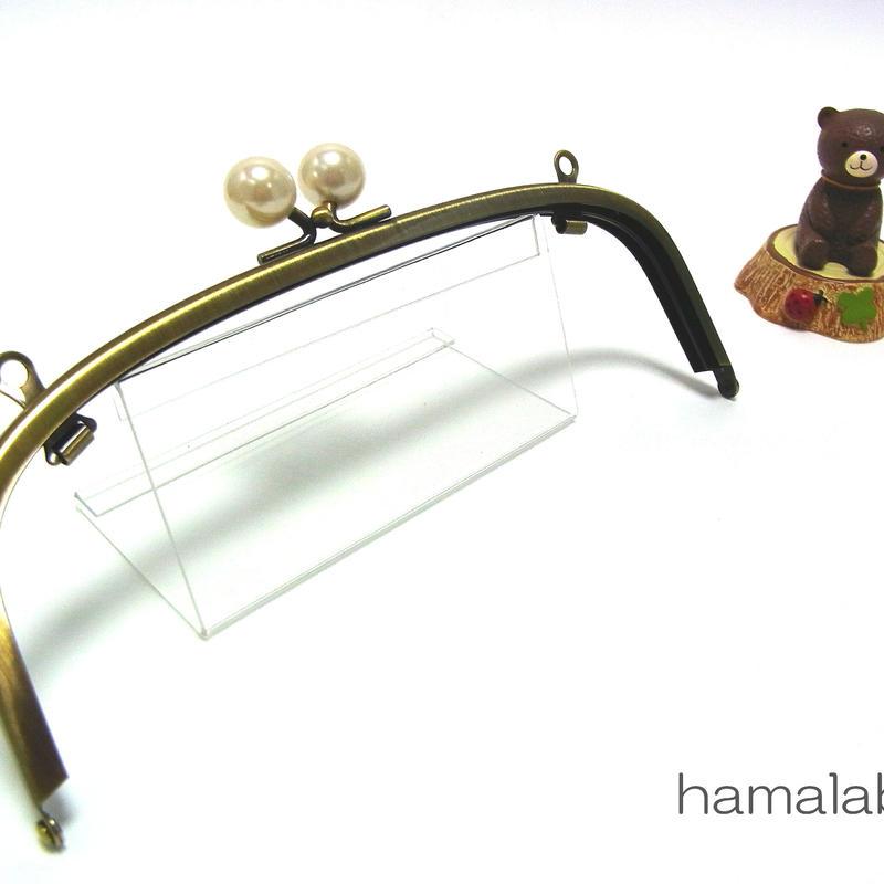 【HA-1273】20.4cm/くし型(ホワイトパール玉×アンティークゴールド)・兼用カン付き