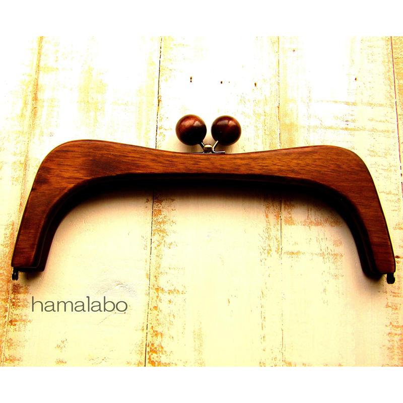 【HA-457】27cmくし型の木製口金(茶色の木玉×アンティークゴールド)