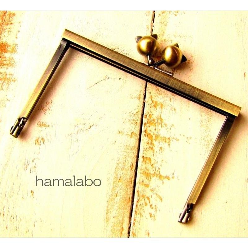 4月10日販売開始!【HA-1502】12cm浮き足口金/ネコ玉(アンティークゴールド)