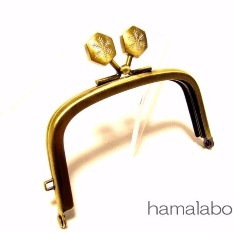 【HA-1462】9.9cm/くし型の口金(六花-雪の結晶×アンティークゴールド)