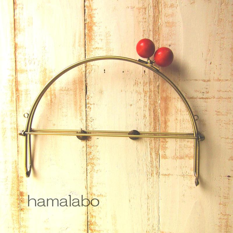 【HA-389】24cmベンリー口金/(大きなオレンジ色の木玉×アンティークゴールド)・カン付き