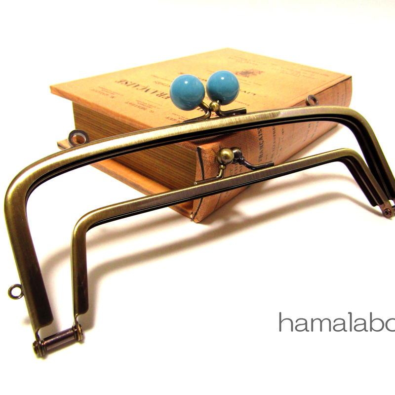 <廃盤予定>【HA-357】<廉価版>親子口金 19cm(ブルー玉×アンティークゴールド)・カン付き