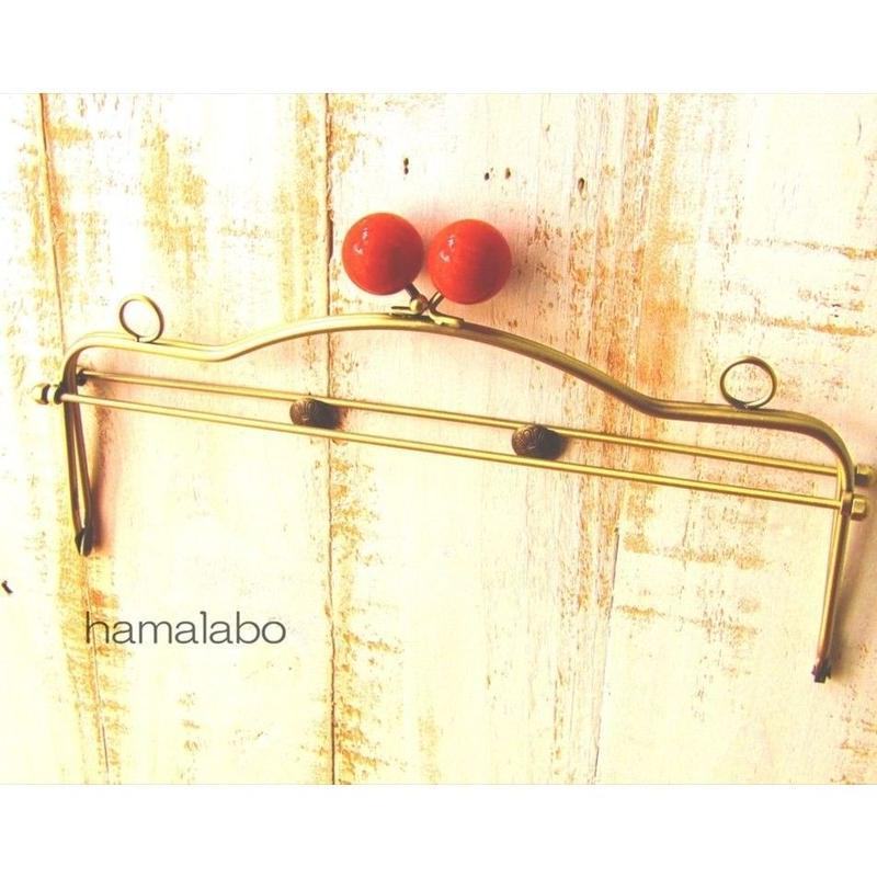 1月17日販売開始!【HA-1489】28cmベンリー口金/(赤玉×アンティークゴールド)・カン付き
