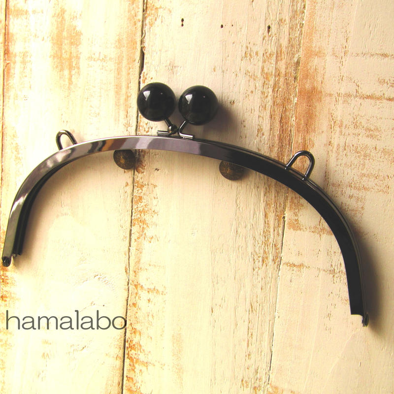 【HA-395】24cmくし型/(大きな黒玉×ブラック)・カン付き
