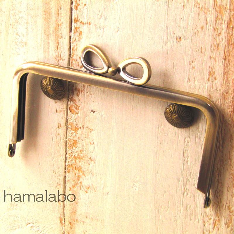 【HA-382】リボン口金/12cm角型(アンティークゴールド)